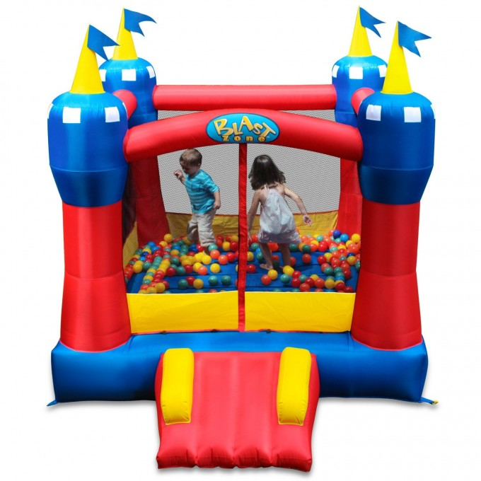 Awesome Little Tikes Bounce House Made Of Caoutchouc In Castle Design With Plastic Ball For Kids Play Room Ideas