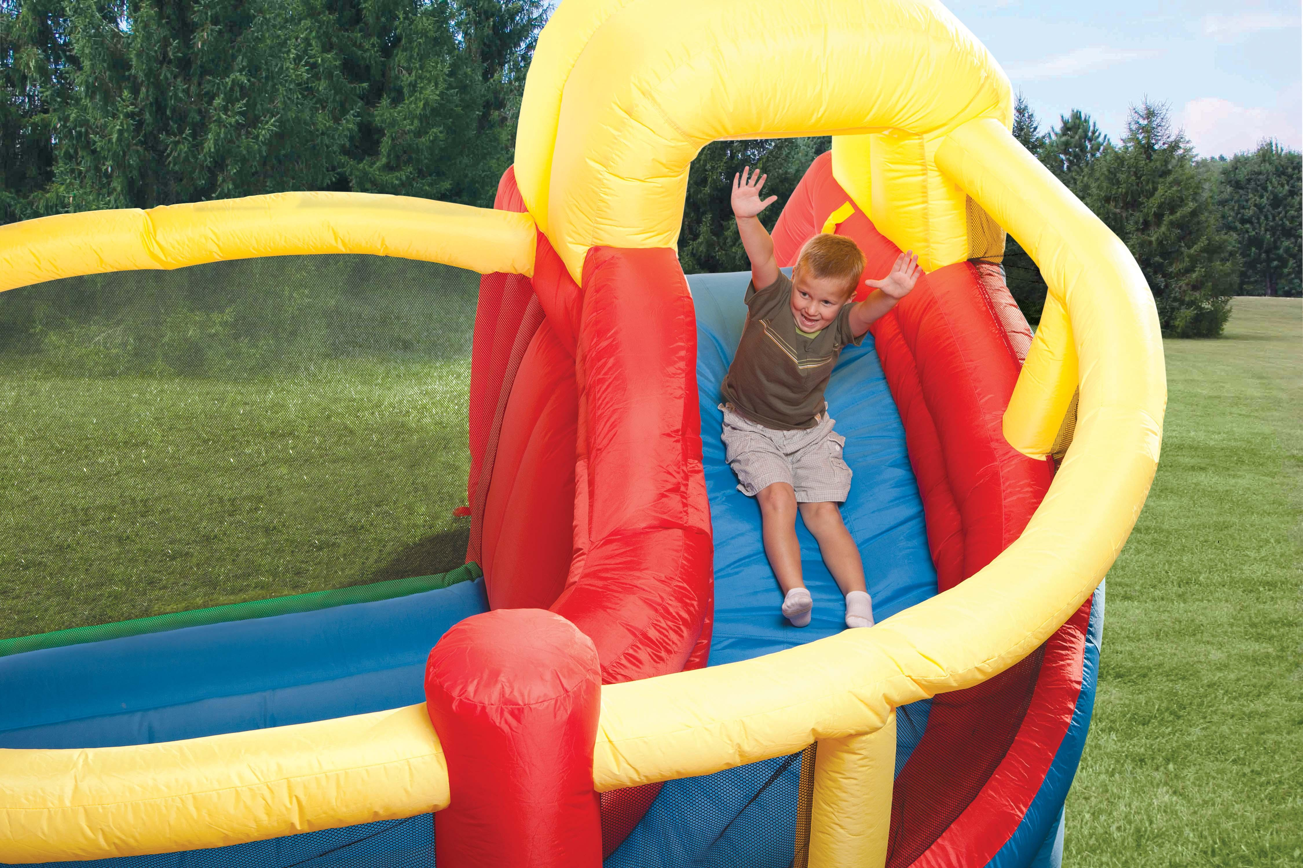 awesome little tikes bounce house made of caoutchouc with double fun slide for play yard ideas