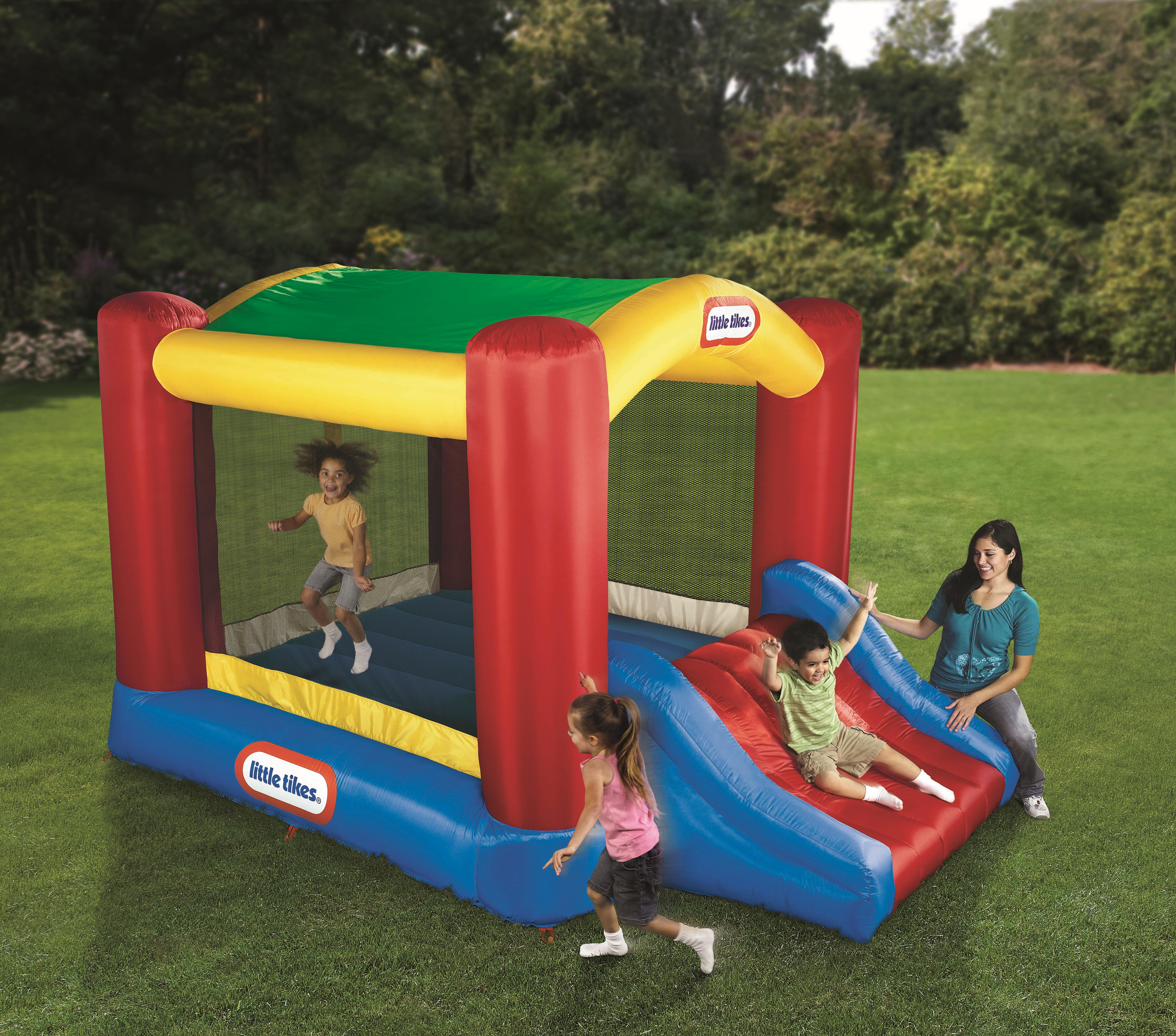 awesome little tikes bounce house made of caoutchouc with mini slide for play yard ideas