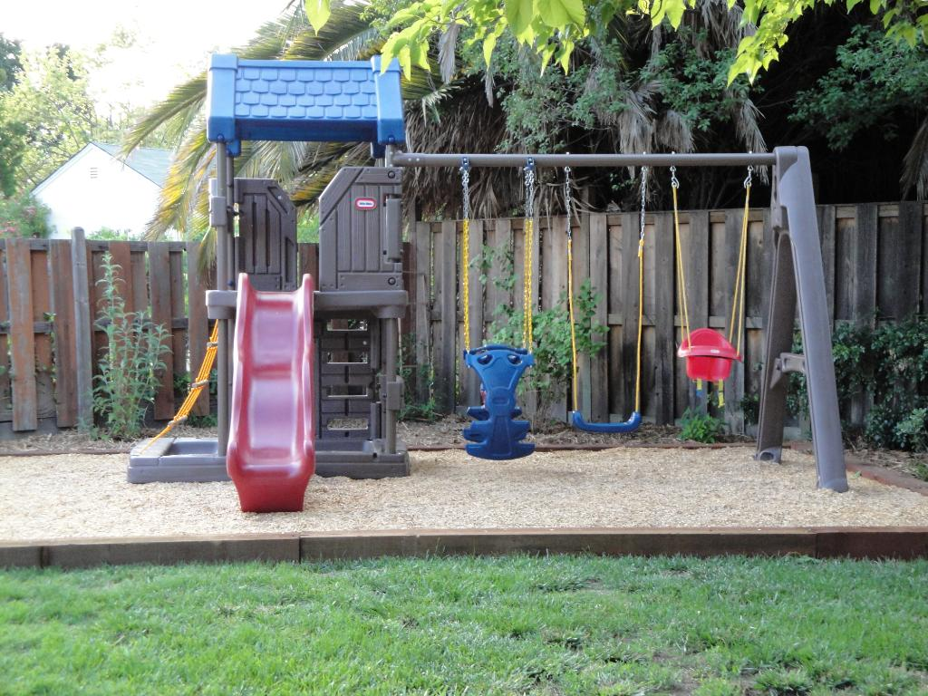 Awesome Little Tikes Playhouse In Gray With Blue Roof With Swing For Playground Decor Ideas