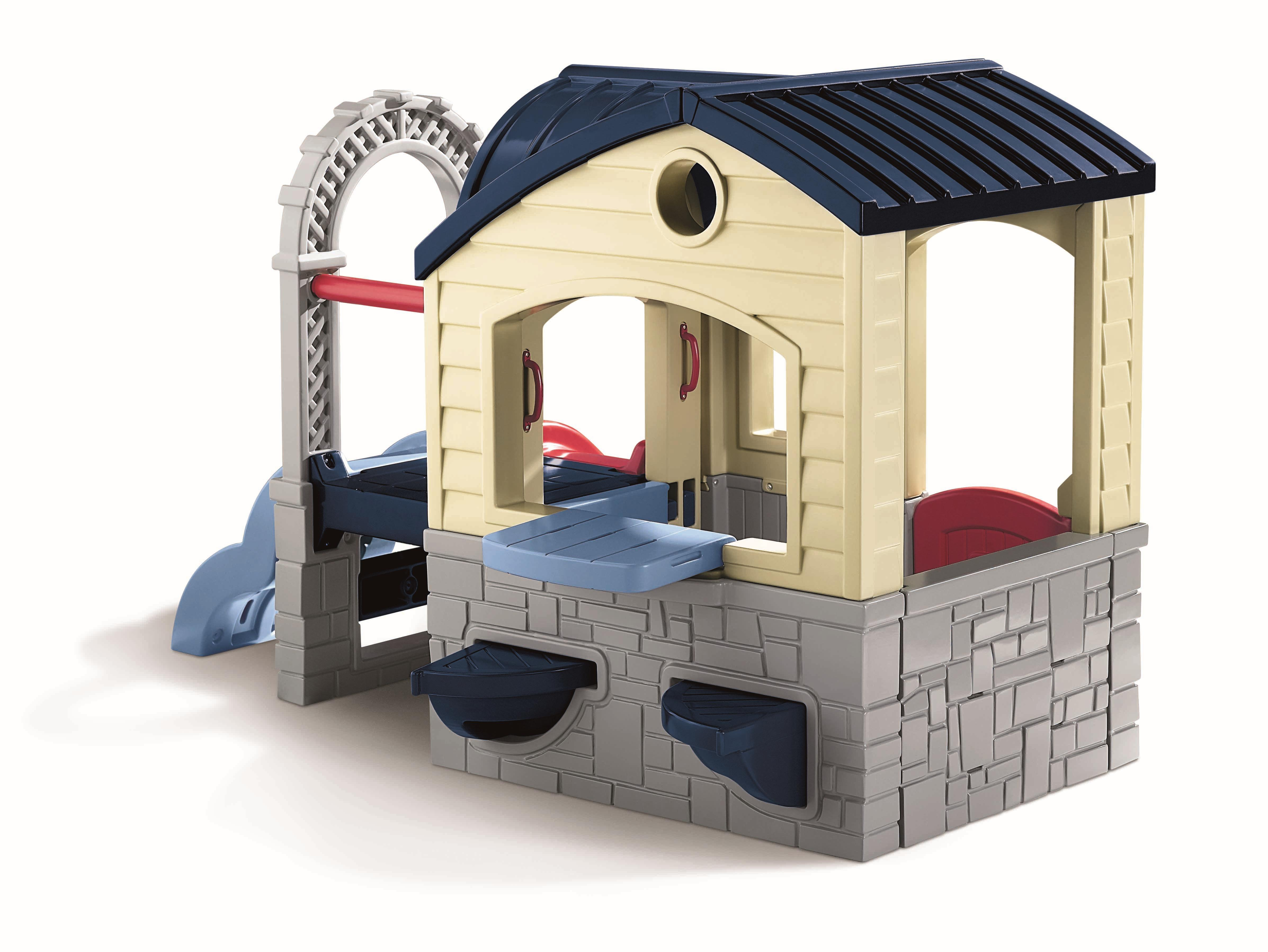 awesome little tikes playhouse made of plastic with navy roof and blue slide for kid toy ideas
