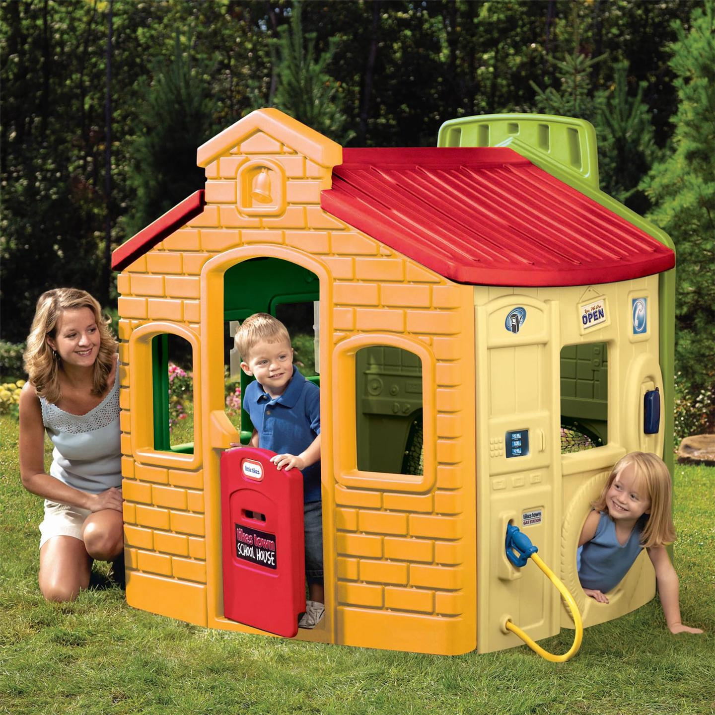 Awesome Little Tikes Playhouse Made Of Plastic With Red Roof And Yellow Siding For Playground Decor Ideas