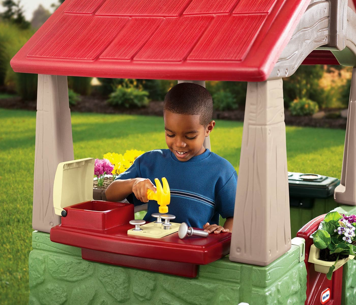 Awesome Little Tikes Playhouse Made Of Plastic With Red Roof For Chic Playground Decor Ideas