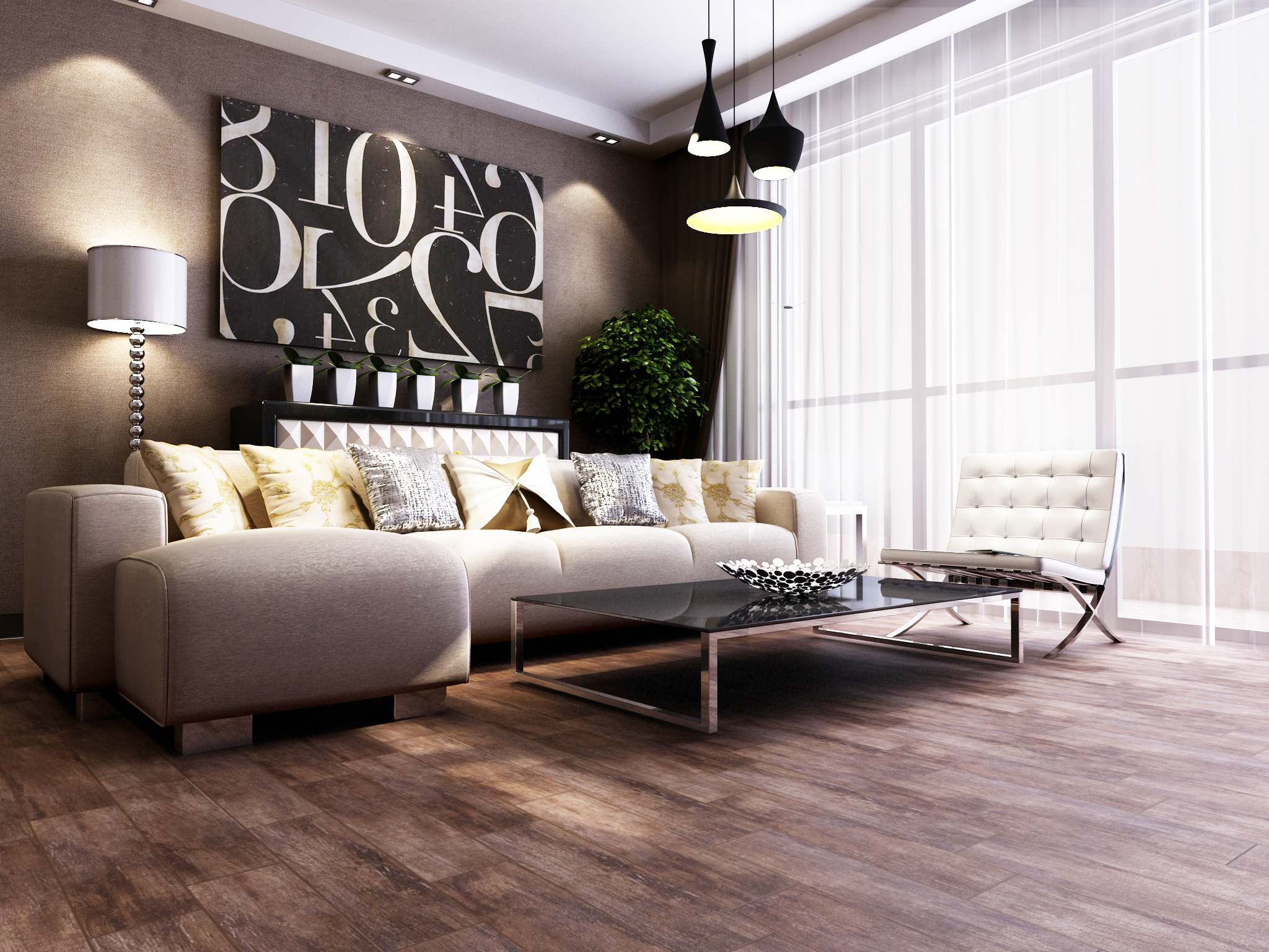 awesome living room decor with interceramic tile floor matched with brown wall plus white sofa ideas