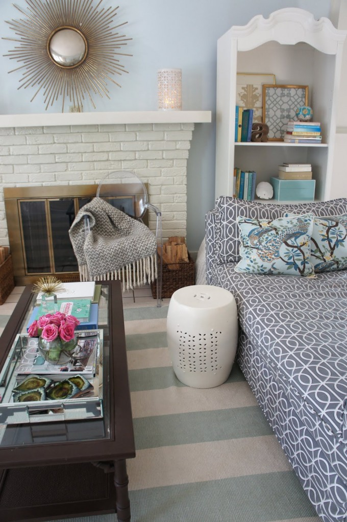 Awesome Living Room Design With Stripped Dash And Albert Rugs And Cute Sofa Plus Fireplace Ideas