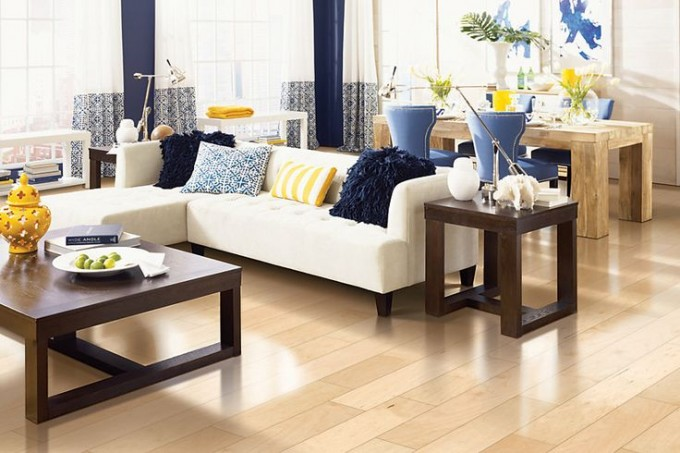 Awesome Mohawk Flooring Matched With White Wall Plus White Sofa Set For Living Room Decor Ideas