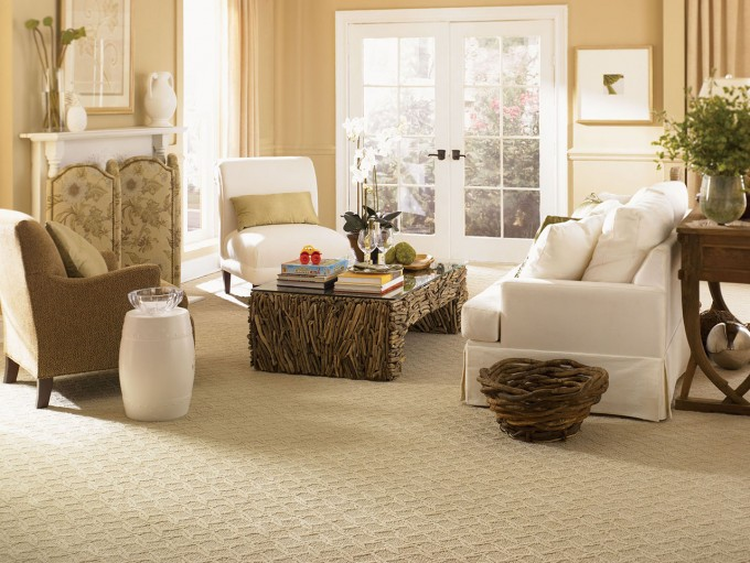 Awesome Mohawk Flooring With Beige Rug Matched With Caramel Color Of Wall Plus White Sofa Set For Living Room Decor Ideas