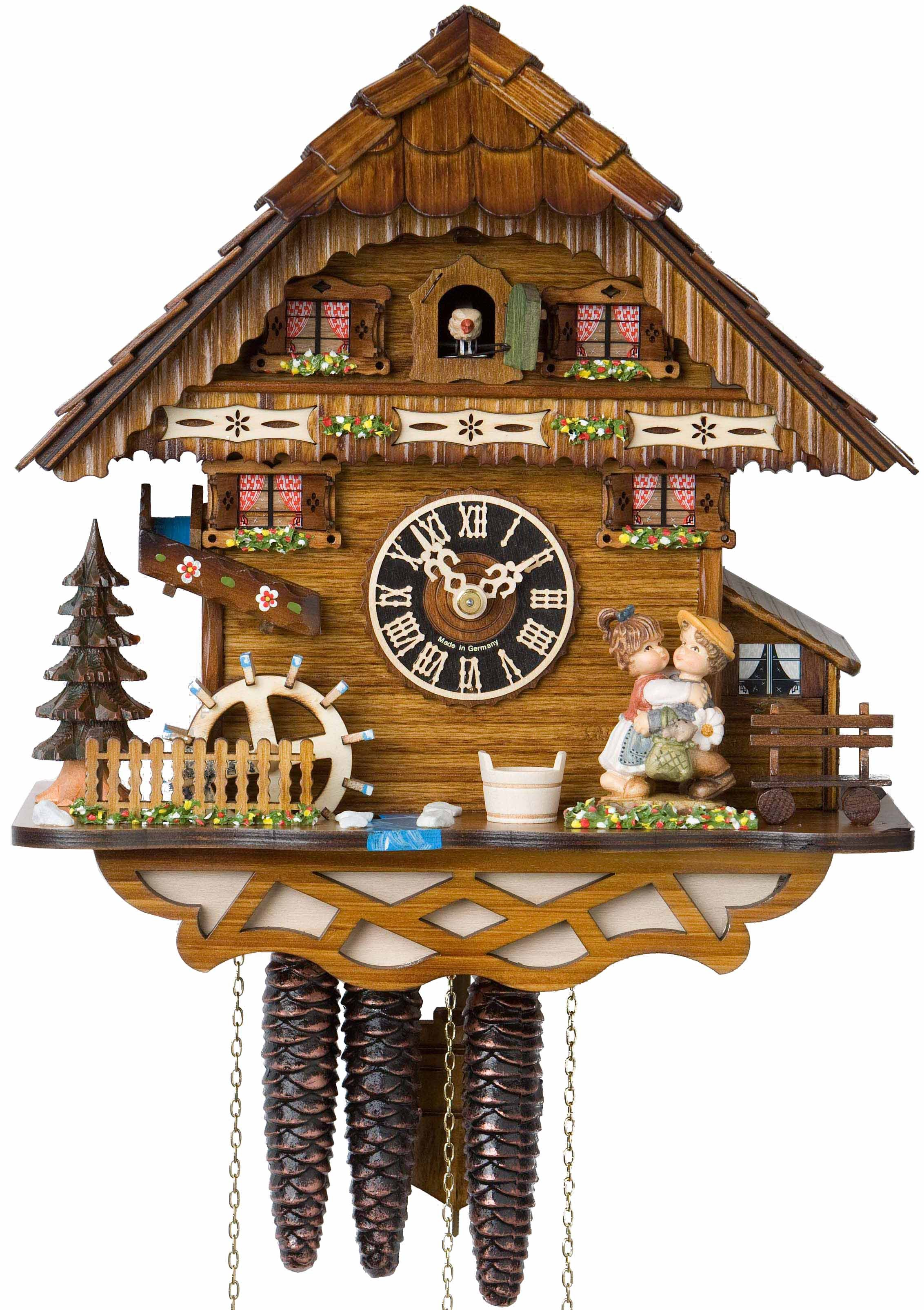 awesome musical cuckoo clock made of wood in brown with kids ornament for home accessories ideas