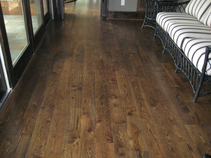Awesome Rustic Bruce Hardwood Floors Matched With Gray Wall Plus Sofa For Living Room Decor Ideas