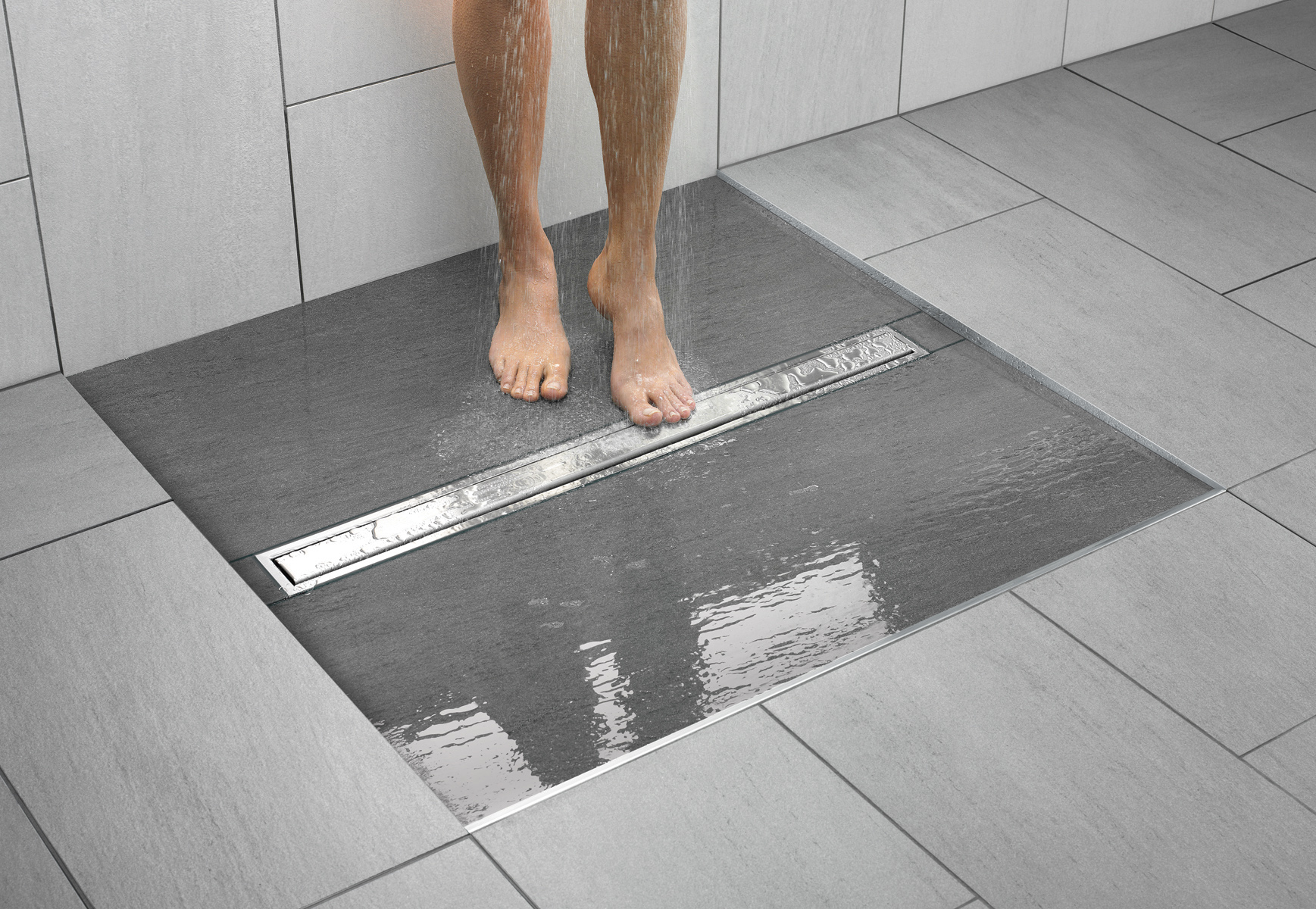 Awesome Schluter Linear Shower With Schluter Strip And Tile Flooring And Wall For Bathroom Decor Ideas