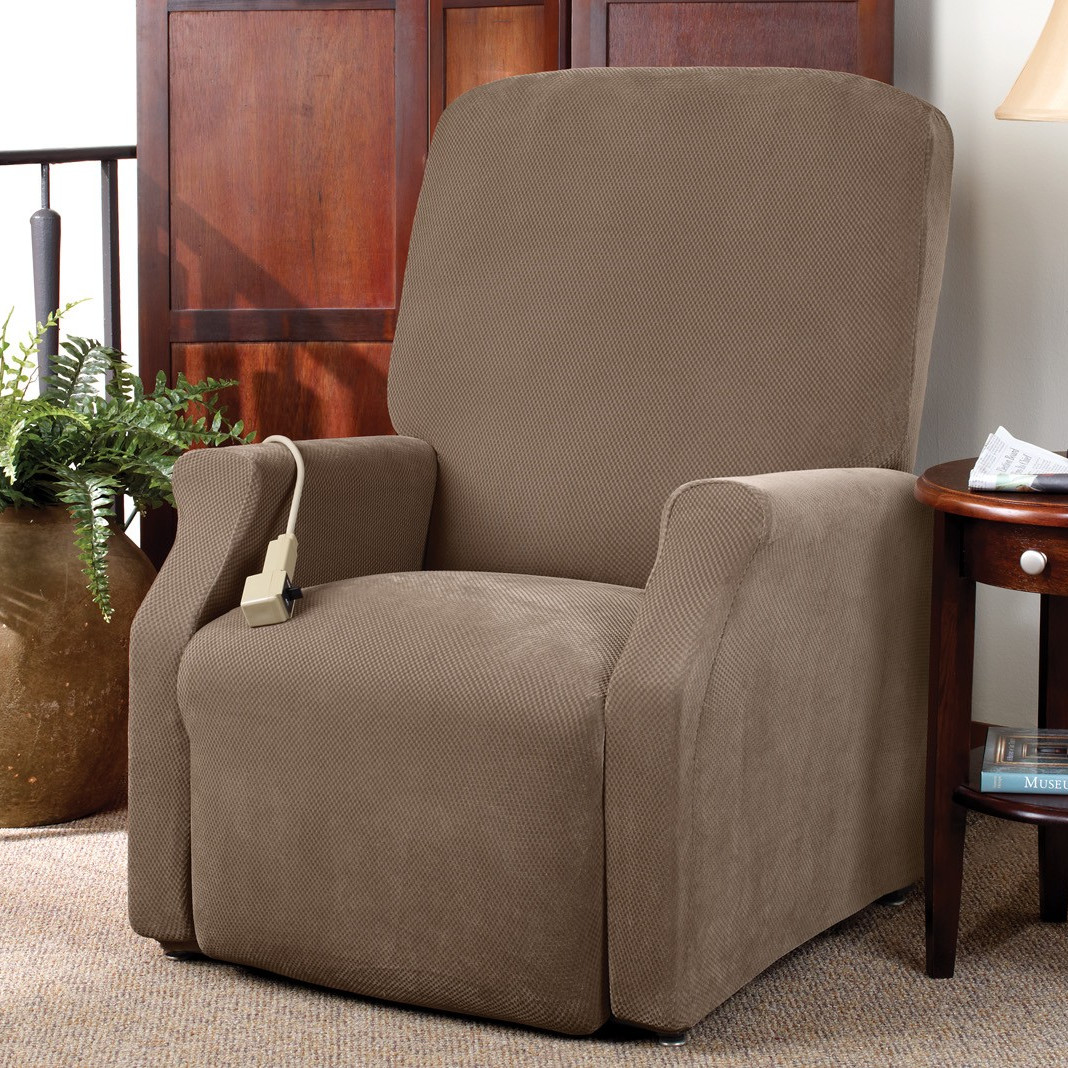 awesome single chair with surefit cover on beige rug plus wooden nightstand and table lamp for living room decor ideas