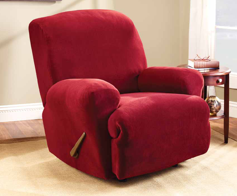 awesome single sofa with red surefit slipcover for living room decor ideas