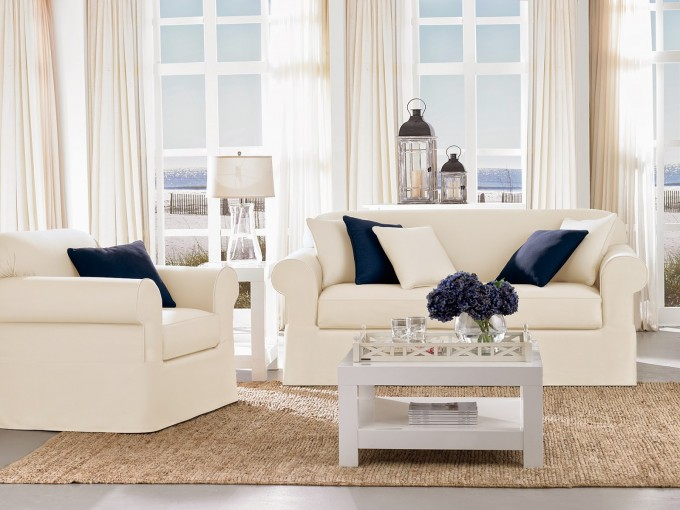 Awesome Sofa Set With Surefit Slipcover In White Before The Glass Window For Living Room Decor Ideas