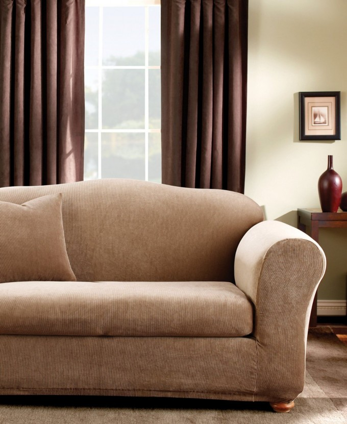 Awesome Sofa With Cream Surefit Cover Before The White Wall With Brown Curtain For Living Room Decor Ideas