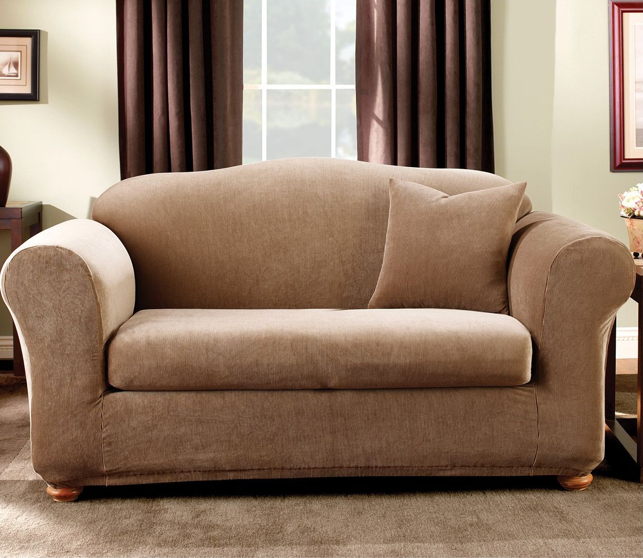 awesome sofa with tan surefit cover on gray rug which matched with white wall with brown curtain for living room decor ideas