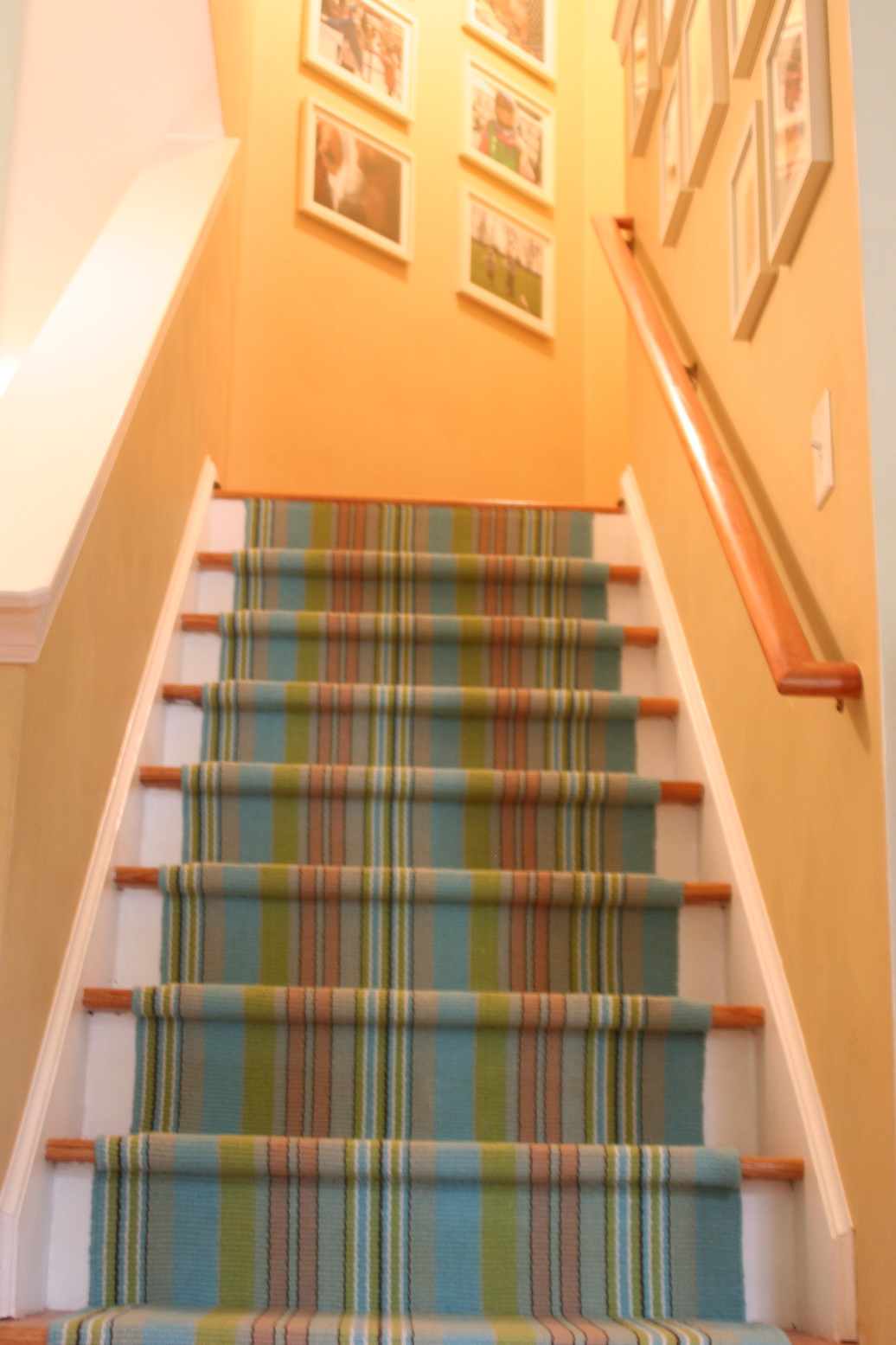awesome stripped Dash And Albert Rugs on staircase with orange wall for home interior design ideas