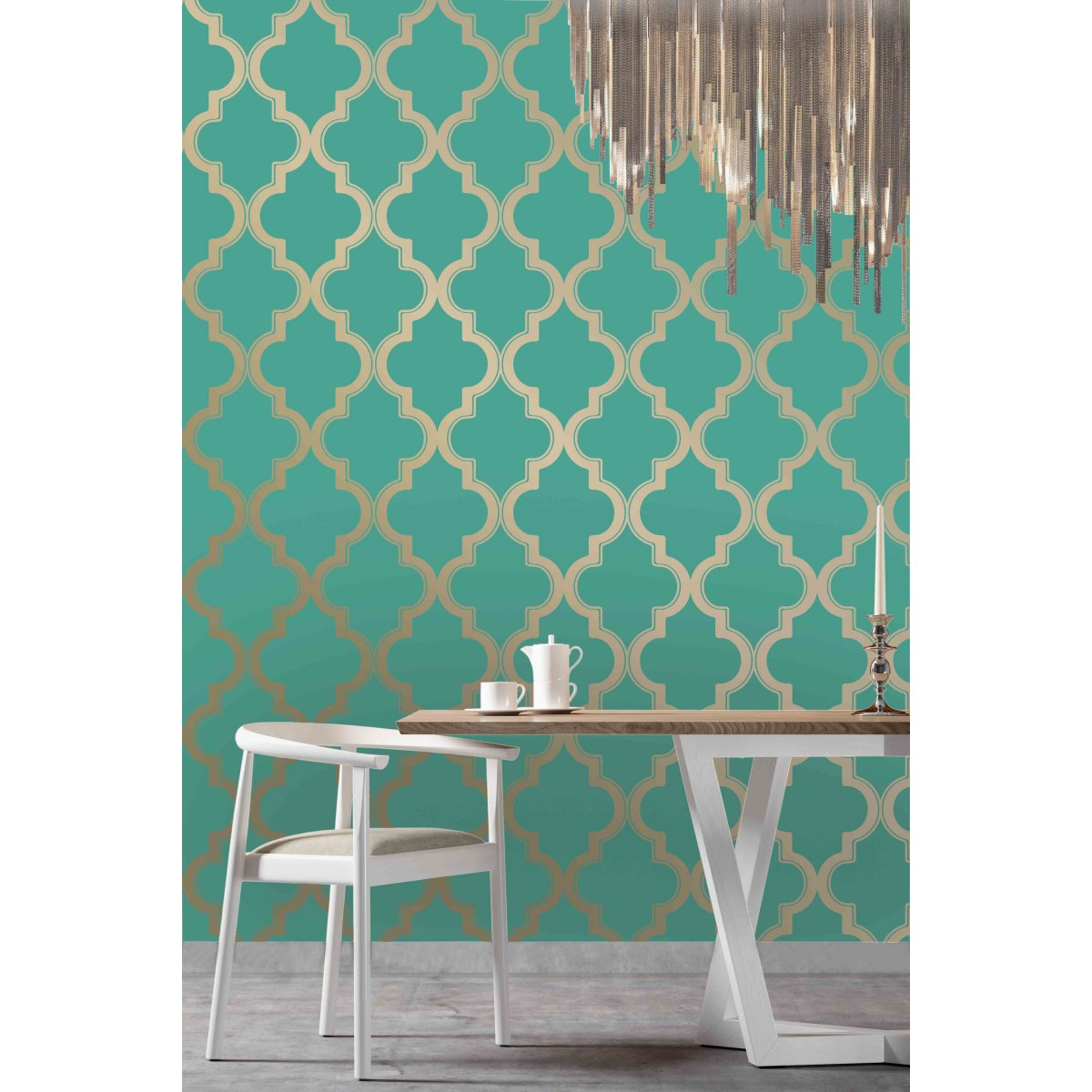 awesome tempaper wallpaper in turquoise and cute design for interesting wall decor ideas