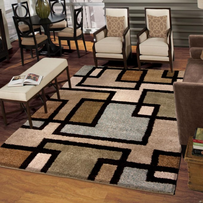 Awesome With Checked Motif On Wooden Floor Plus Chairs For Living Room Decor Ideas