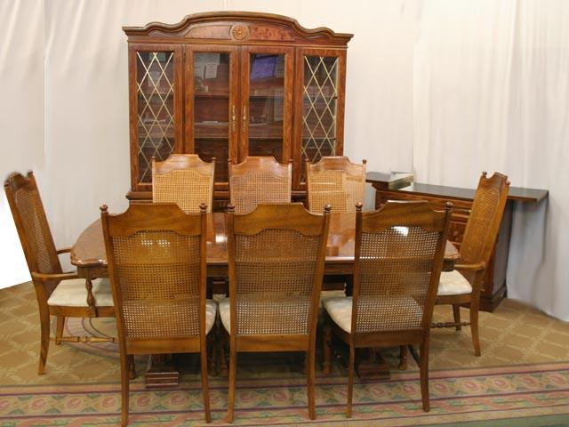 awesome wooden dining table set by broyhill furniture with wooden cabinet for dining room furniture ideas