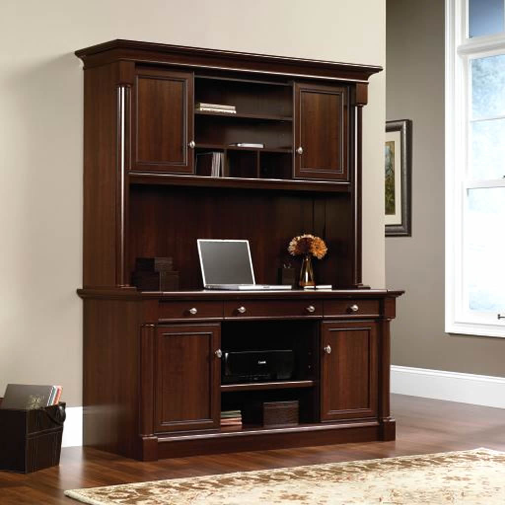 awesome wooden palladia credenza hutch by sauder furniture on wooden floor which matched with lavender wall for home office decor ideas