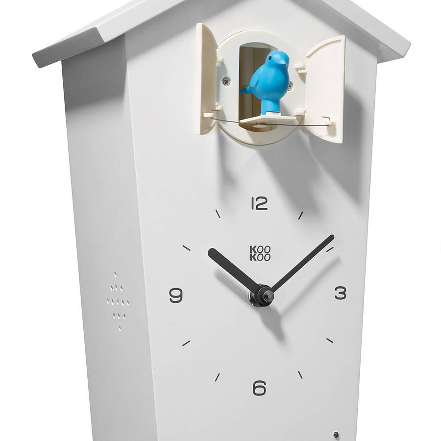 beautiful cuckoo clock in white with black hands and blue bird ornament for home accessories ideas