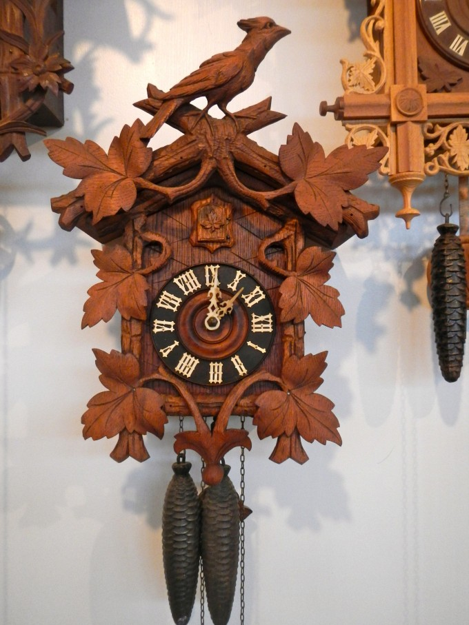 Beautiful Cuckoo Clock Made Of Wood With Bird And Leaves Ornament For Home Furniture Ideas