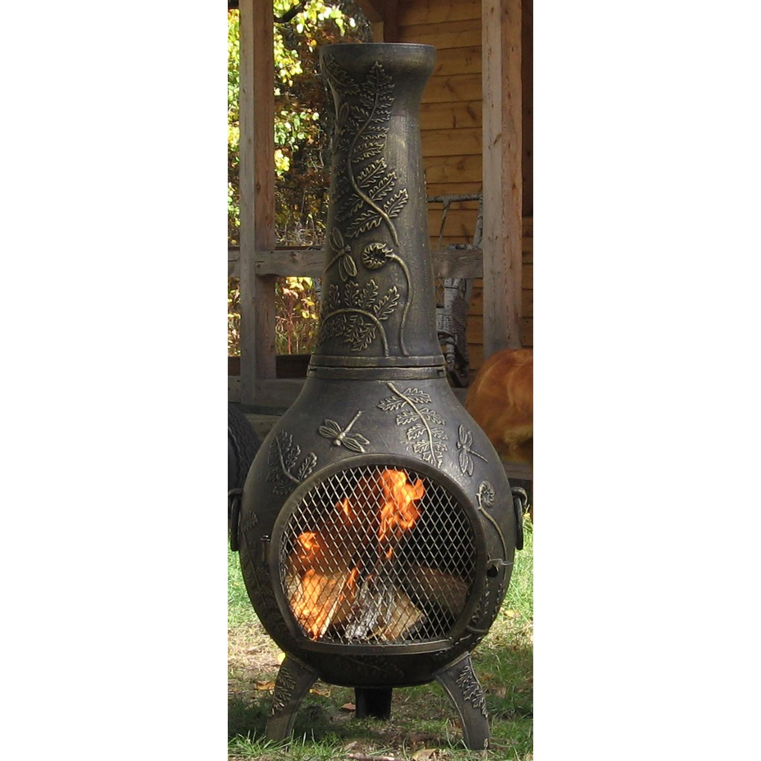 Beautiful Dark Chiminea With Awesome Ornament For Patio Furniture Ideas