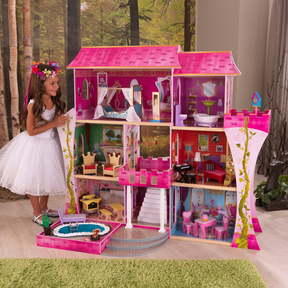 beautiful kidkraft dollhouse in triple floor design and pink theme with swimming pool for pretty nursery decor ideas