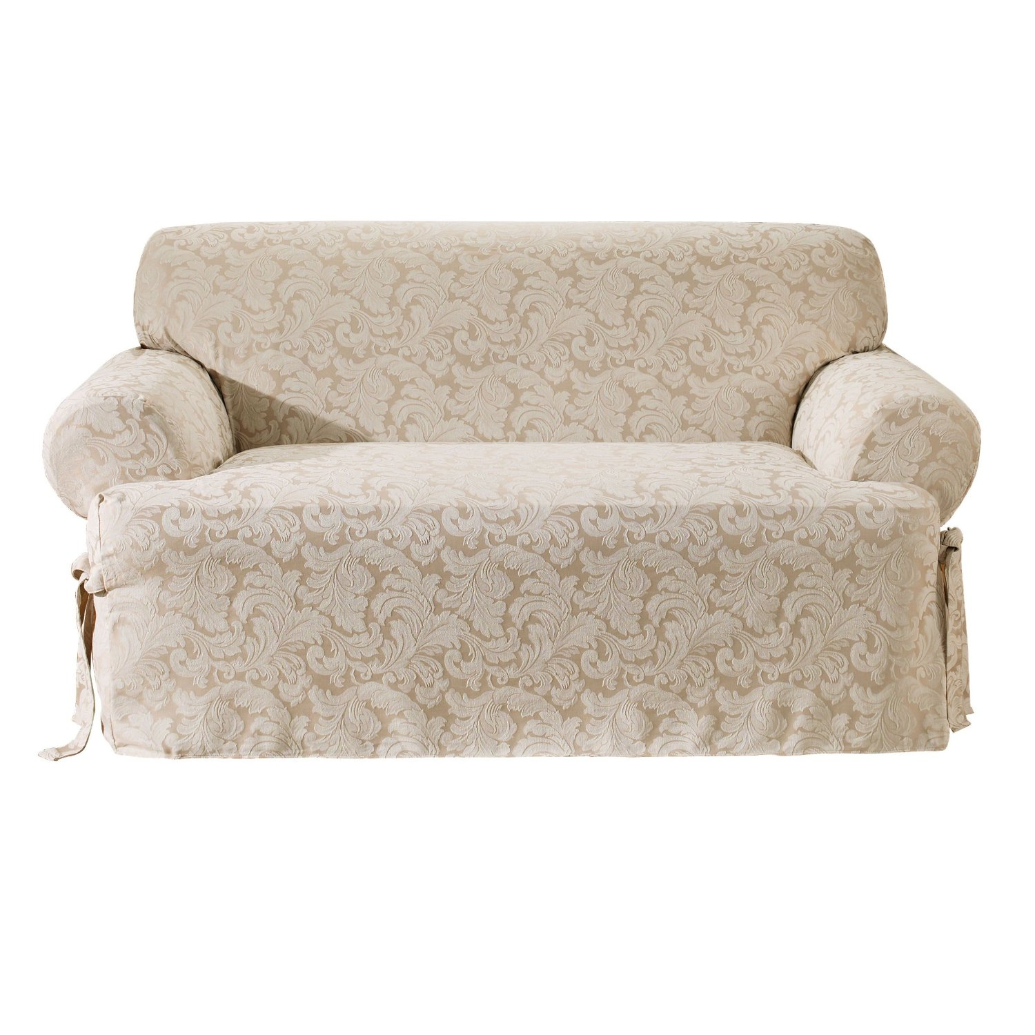 beautiful sofa with surefit cover in white with floral pattern for living room decor ideas