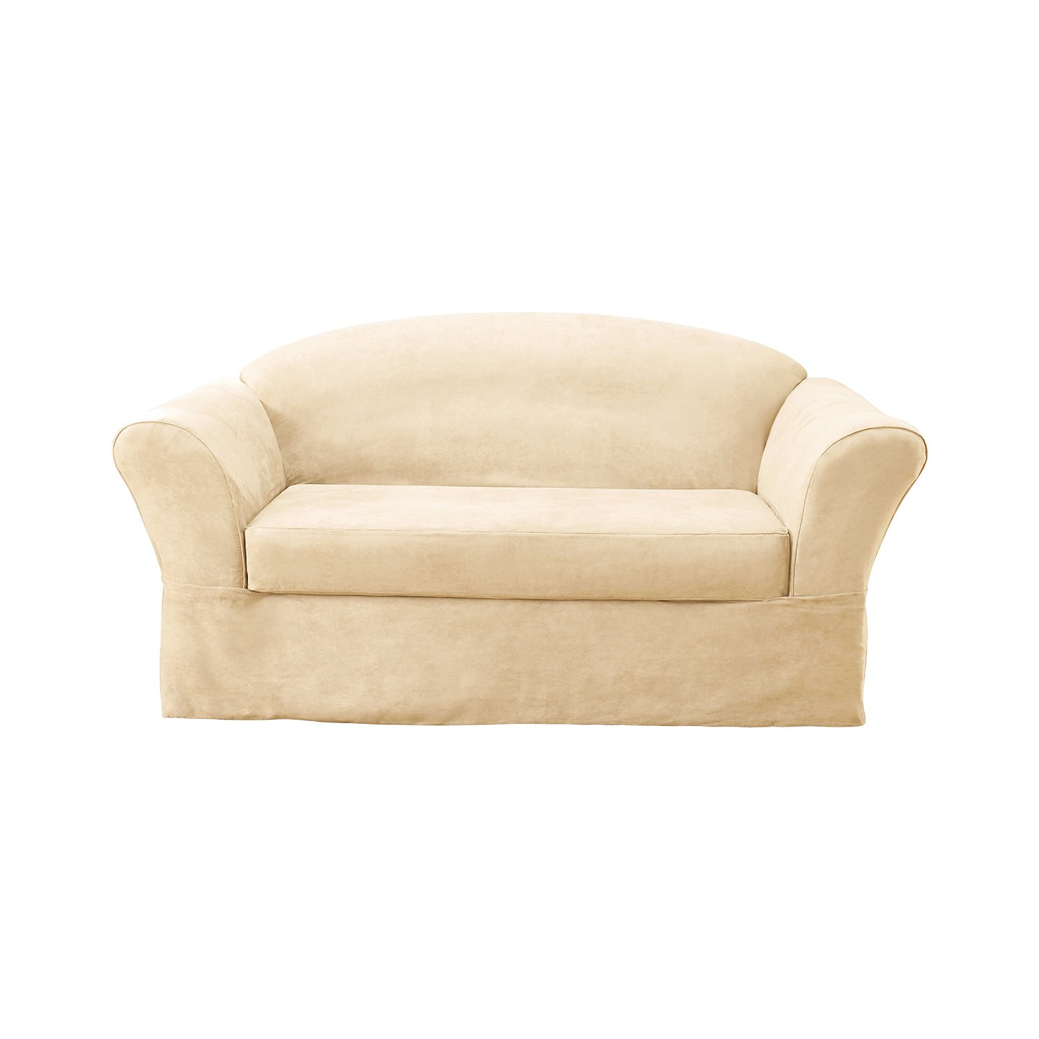 beautiful sofa with white surefit cover for living room furniture ideas