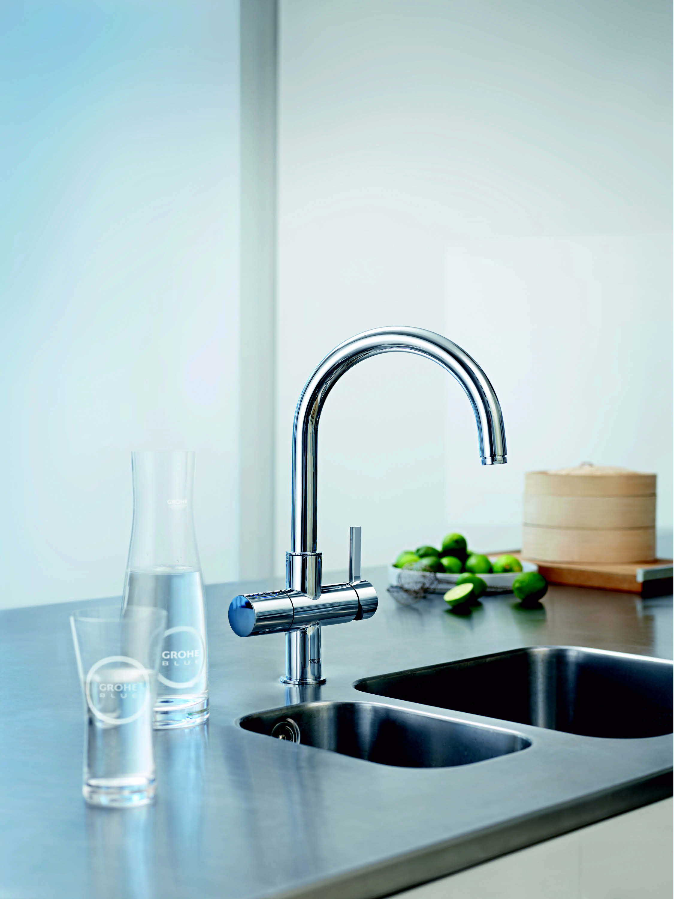 Blue Faucet by grohe faucets on marble countertop with double bowl sink for kitchen decor ideas