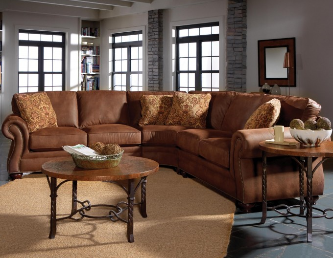 Broyhill Furniture Laramie Recliner With Turned Wood Feet And Nail On Dark Floor With Rug For Living Room Decor Ideas