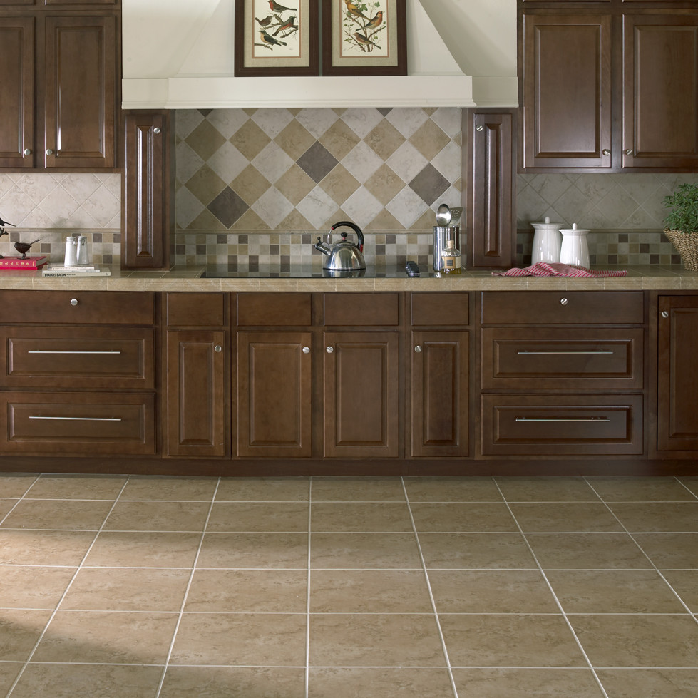 Bruselas Ceramic Floor Tile in Noce by interceramic tile and brown wooden kitchen cabinet for kitchen decor ideas