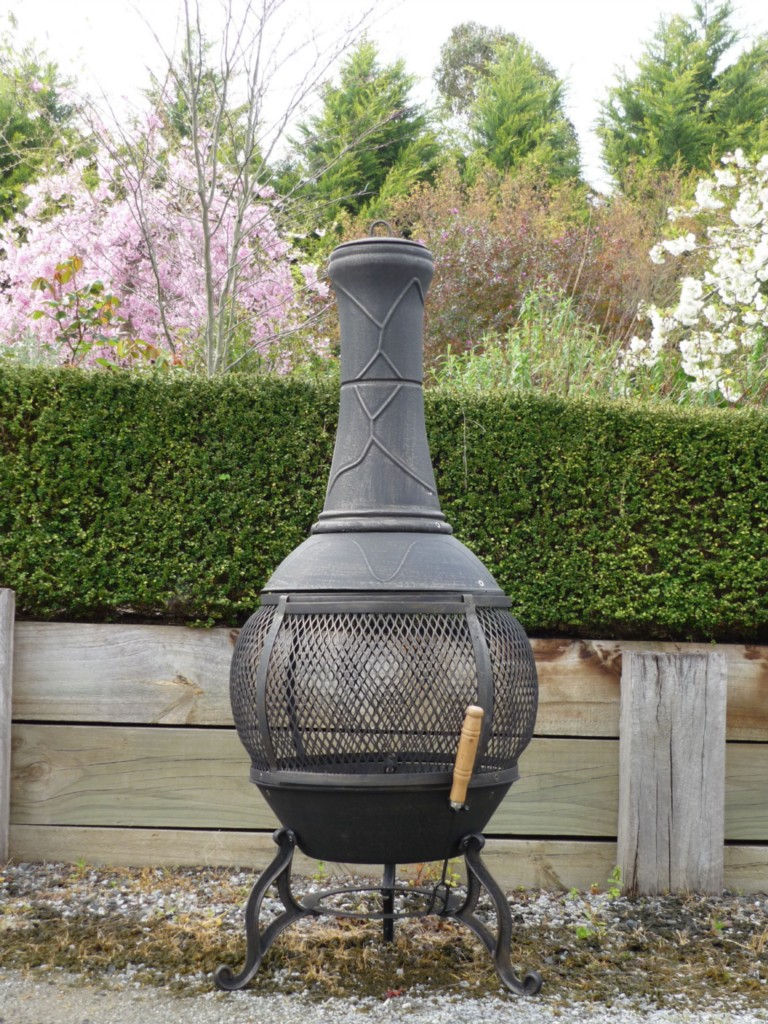 Wonderful Chiminea Outdoor Fireplace For Patio Furniture Ideas: Cast Iron Chiminea Pot Belly Wood Heater Fire BBQ Camping 92B For Patio Furniture Ideas