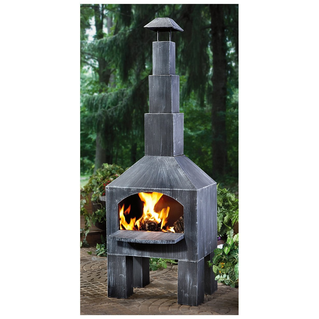 CASTLECREEK Cabin Cooking Steel Chiminea Patio Fireplace For Patio Furniture Ideas