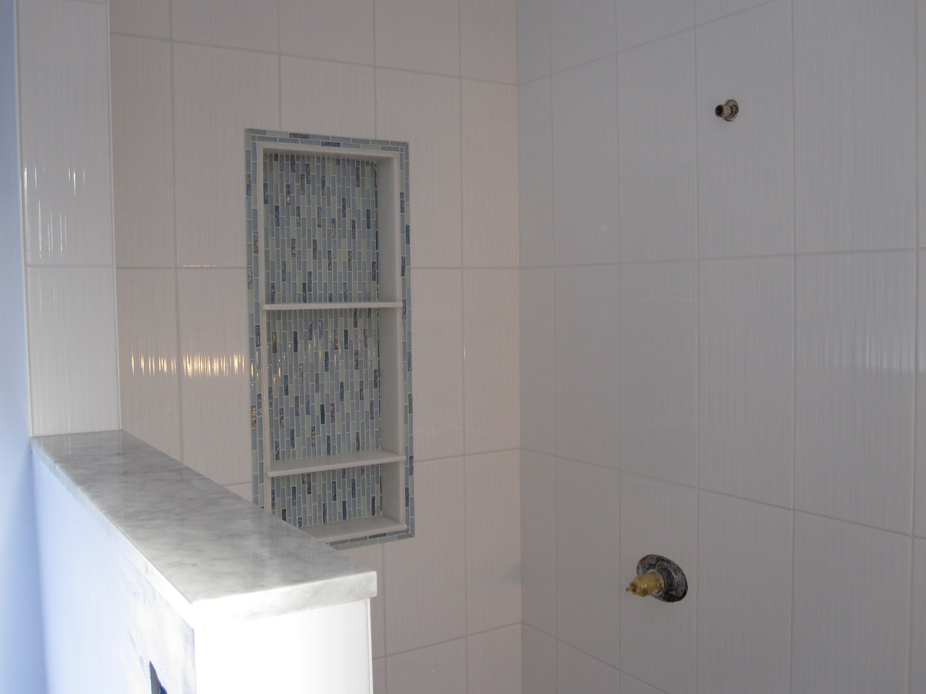 Ceramic Tile Shower Stall with schluter strip for bathroom decor ideas