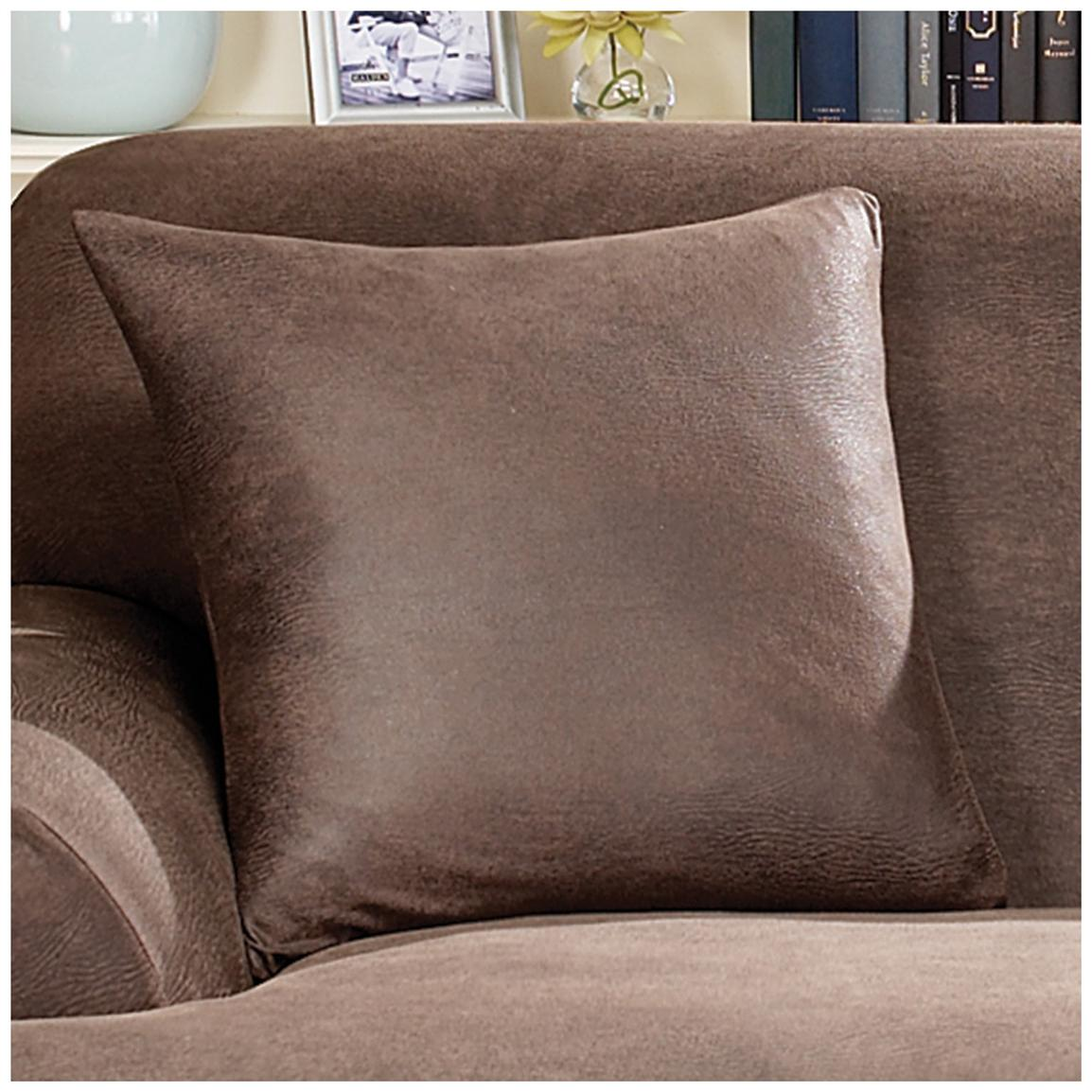 chaming sofa with tan surefit cover plus cushion for living room decor ideas