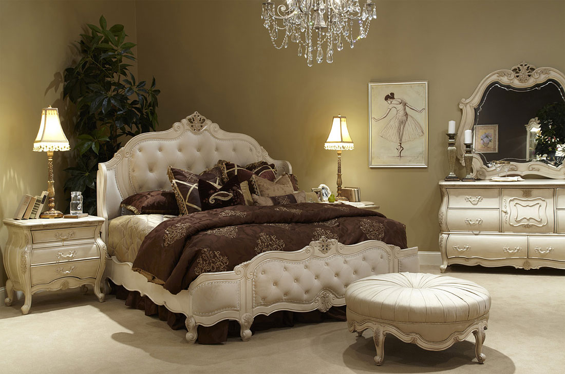 charming bed in tufted white by aico furniture plus vanity and nightstand for bedroom decor ideas