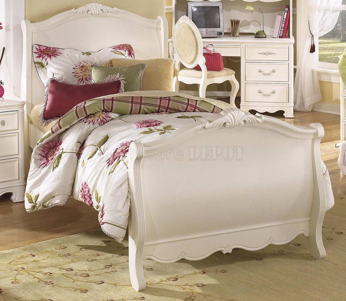 charming bed in white by aico furniture with floral bedding for bedroom decor ideas