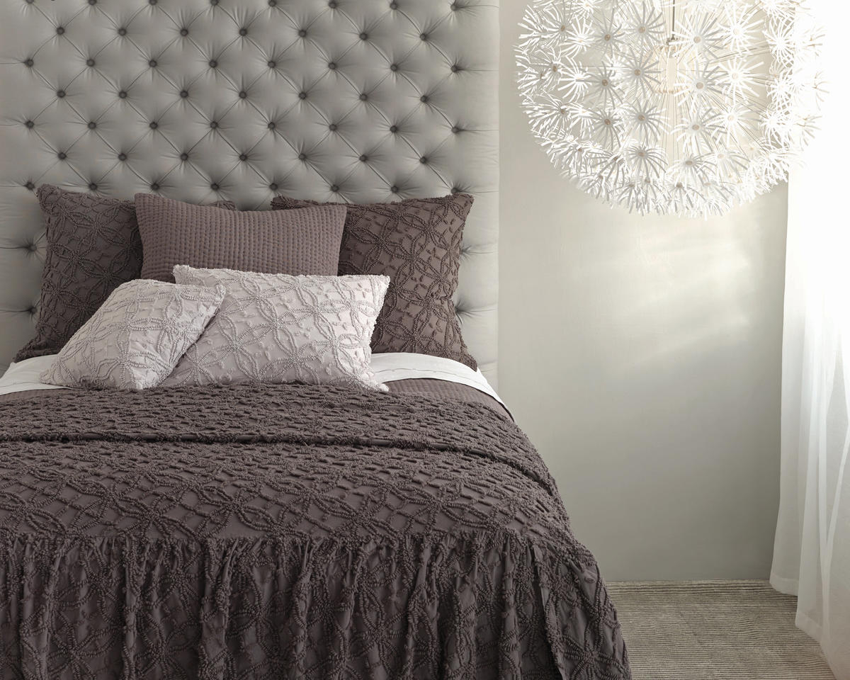 Charming Bed With Gray Tufted Headboard And Dark Brown Textured Pine Cone Hill Bedding For Bedroom Decor Ideas