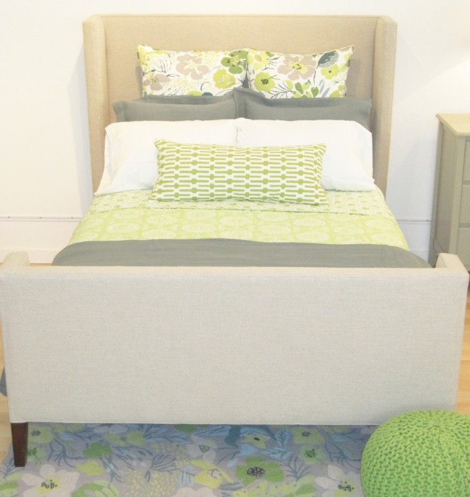 Charming Bed With Lovely Pine Cone Hill Bedding And Cream Headboard Before The White Wall For Bedroom Decor Ideas