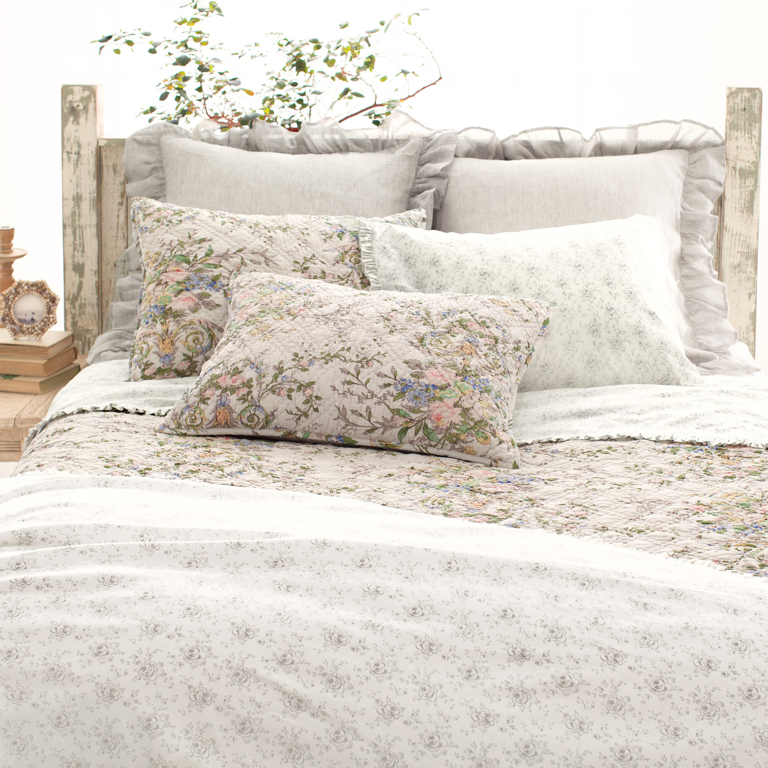 Lovely Pine Cone Hill Bedding For Interesting Bed Ideas: Charming Bed With Wooden Headboard And Pine Cone Hill With Floral Pattern For Bedroom Decor Ideas