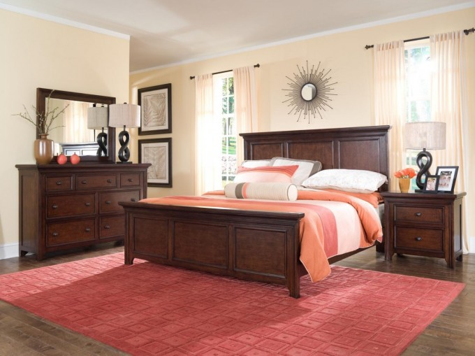 Charming Brown Wooden Bed By Broyhill Furniture On Wooden Floor With Red Rug For Bedroom Decor Ideas