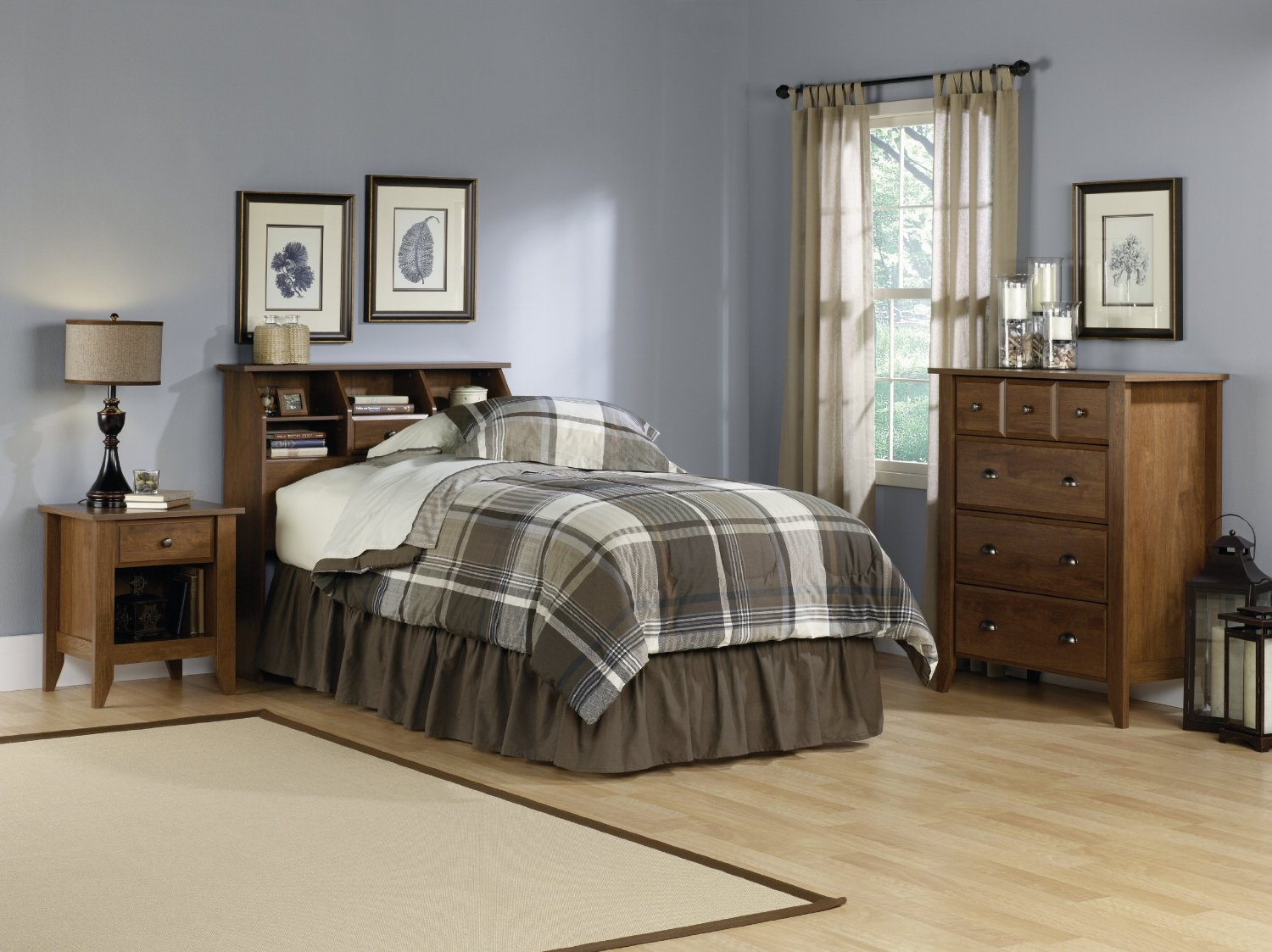 charming brown wooden dresser by sauder furniture on wooden floor plus bed for bedroom decor ideas