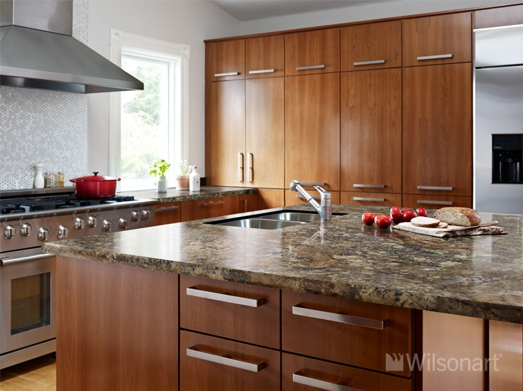 charming brown wooden kitchen cabinet with silver handle and wilsonart laminate countertops plus sink and faucet for kitchen decor ideas