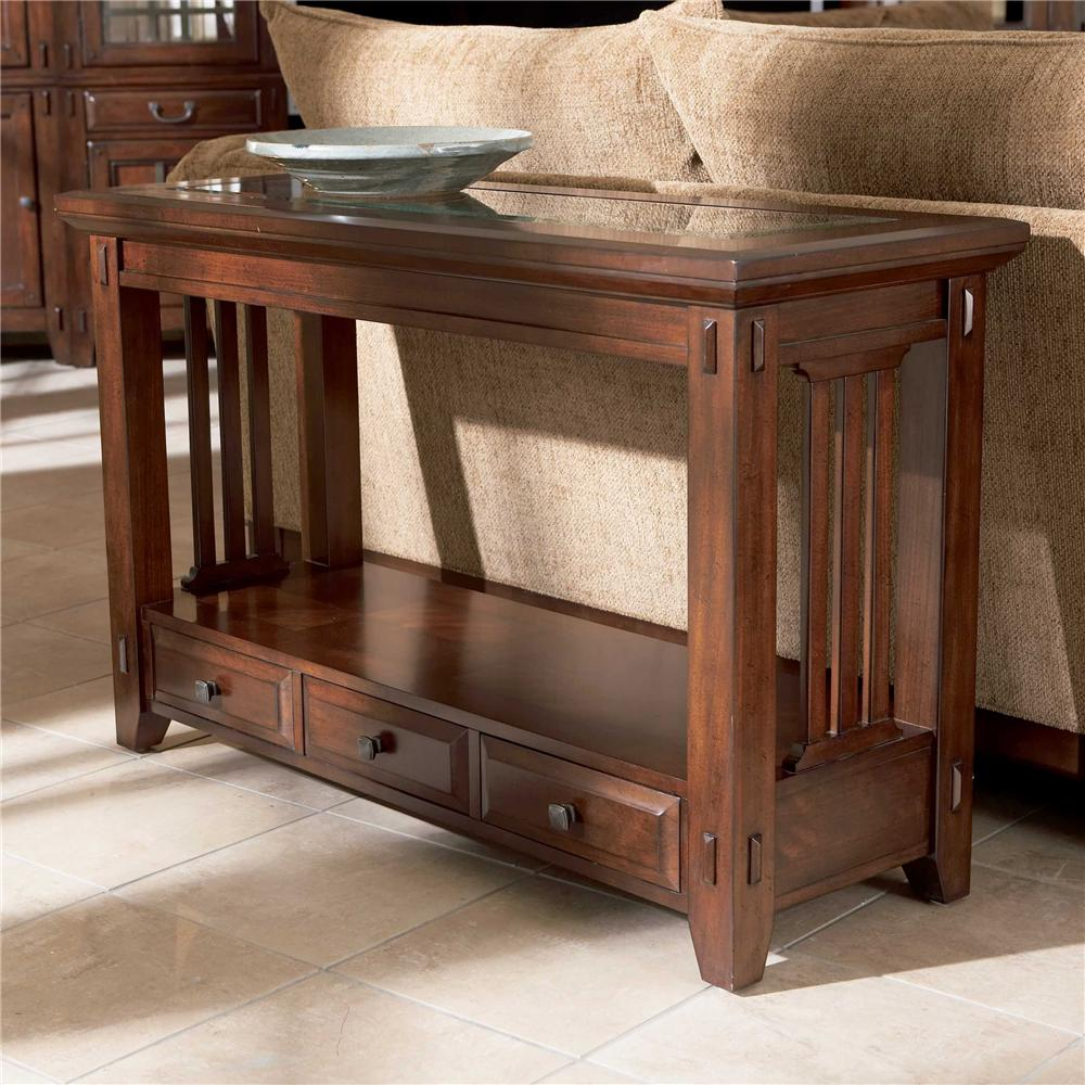 Charming Brown Wooden Table With Drawers By Broyhill Furniture On Beige Tile Floor For Living Room Decor Ideas