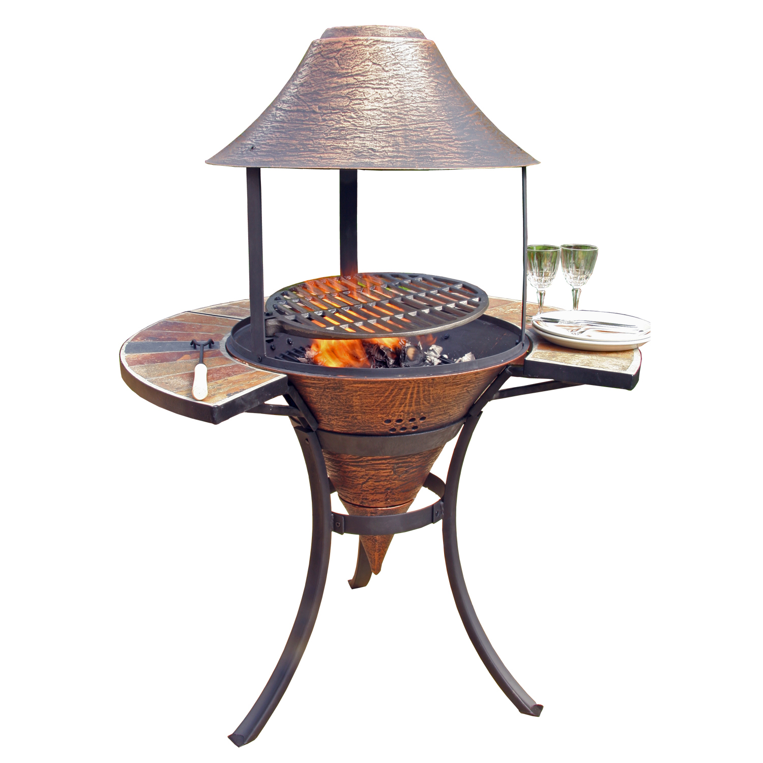 Wonderful Chiminea Outdoor Fireplace For Patio Furniture Ideas: Charming Corona Cast Iron Barbecue Chiminea For Outdoor Furniture Ideas