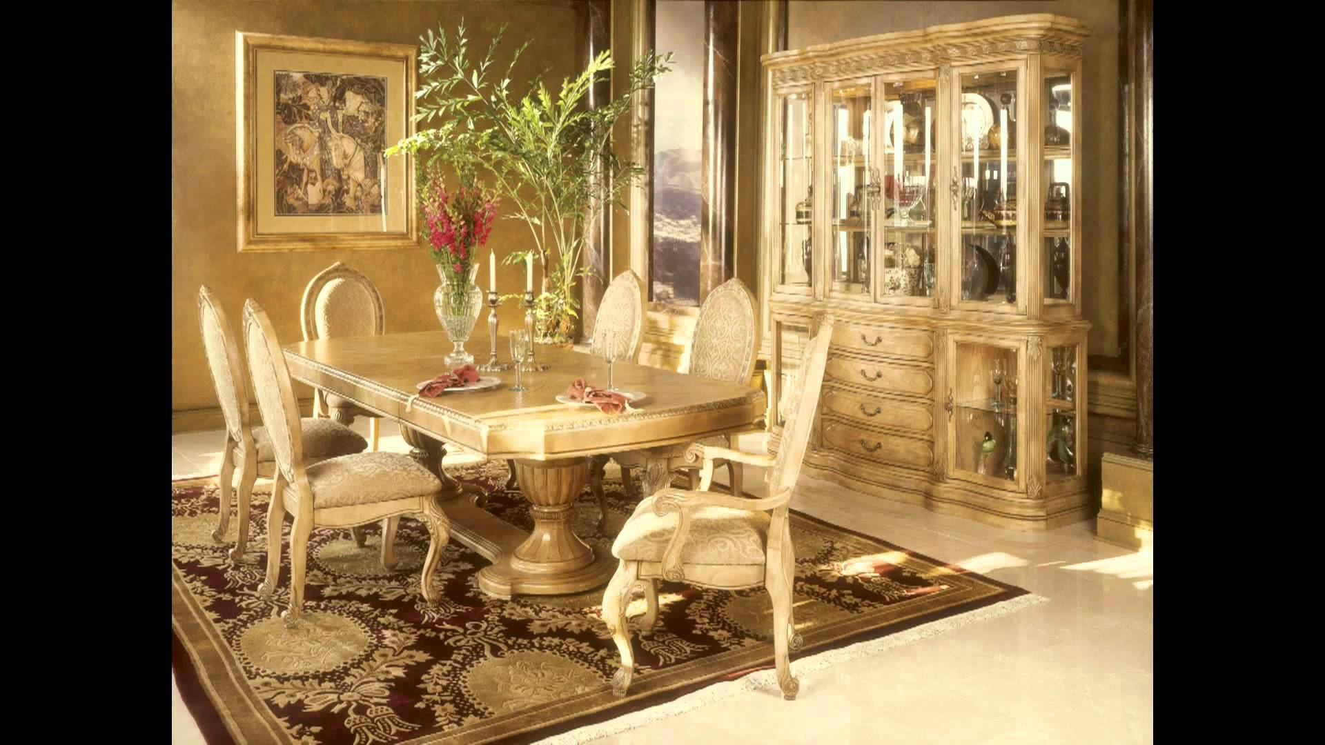 charming cream dining table set by aico furniture on floral rug for dining room decor ideas