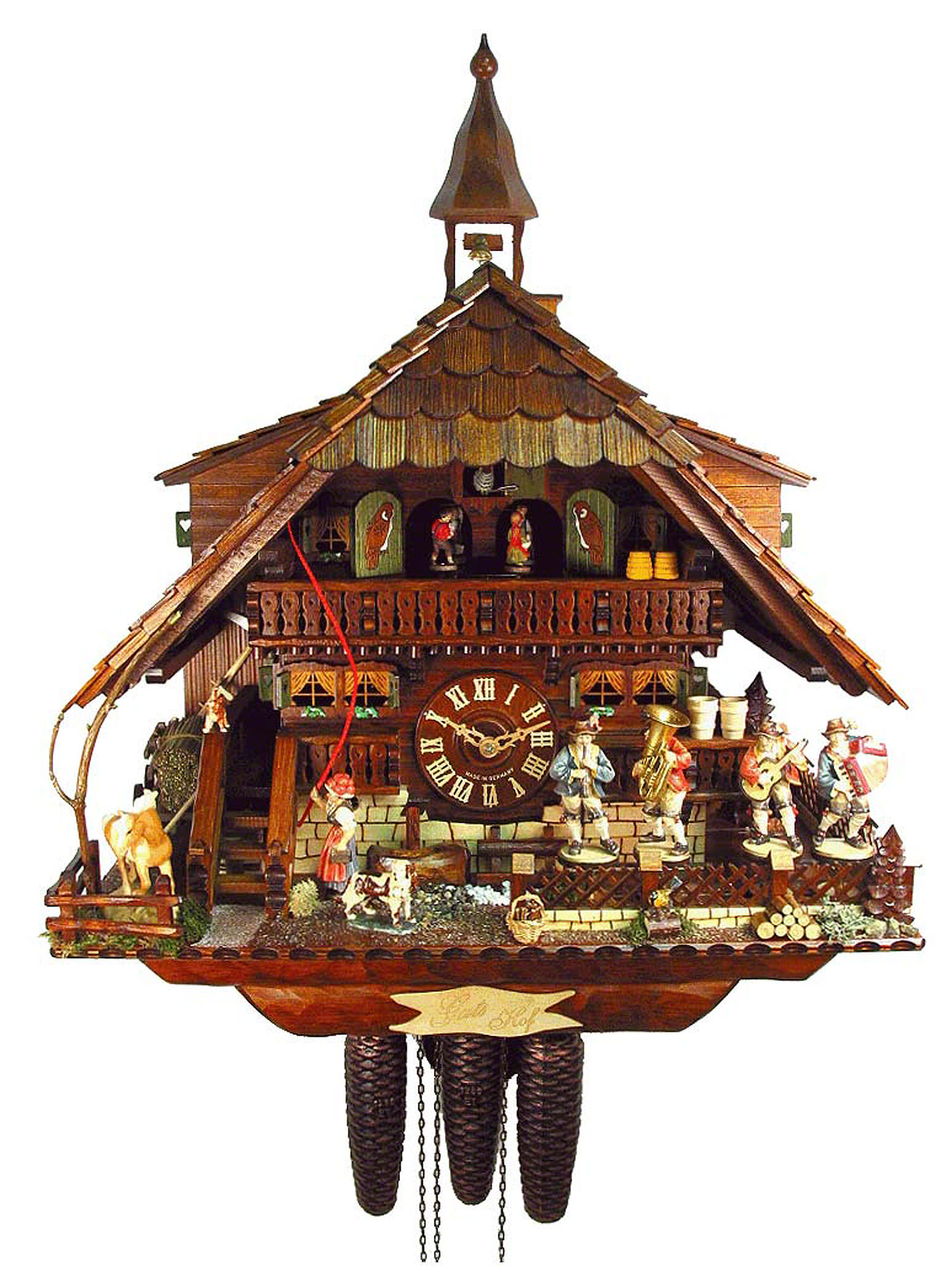 charming cuckoo clock in brown home design made of wood with daily life scene for home accessories ideas