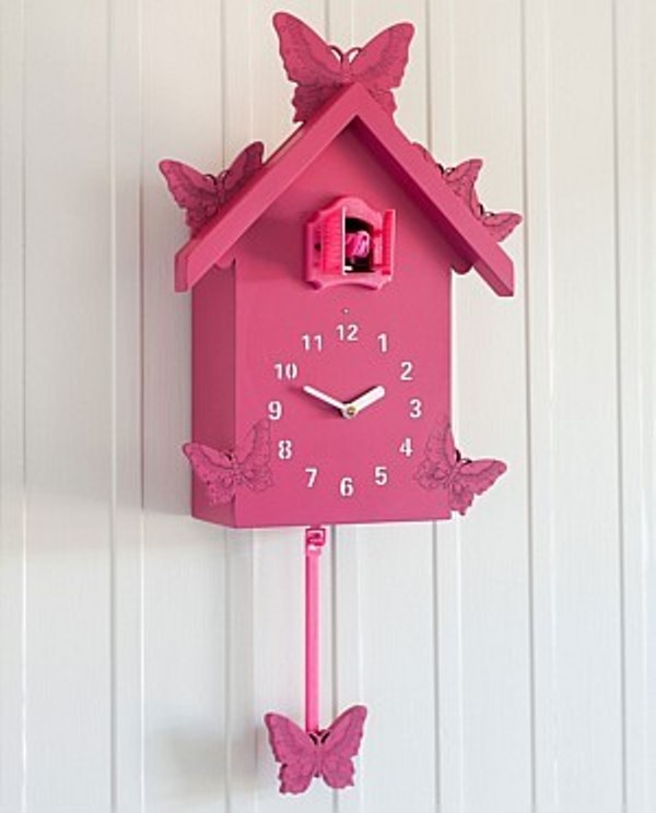 charming cuckoo clock in pink with butterflies ornament for home accessories ideas
